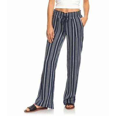 ロキシー カジュアルパンツ ボトムス レディース Oceanside Pants Yarn-Dye Mood Indigo Oceanside Stripes