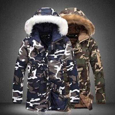 ダウンジャケット メンズ レディース 中綿 コート チェスター フード付き ロング ジャンパー 迷彩