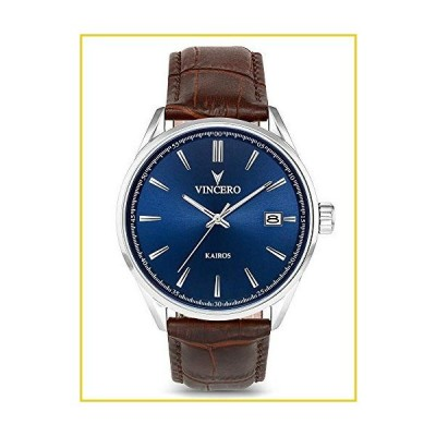 Vincero Luxury Men's Kairos Wrist Watch  Blue dial with Brown Leather Watch Band  42mm Analog Watch  Japanese Quartz Movement
