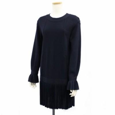 シャネル プリーツ フリンジ ワンピース ドレス ネイビー 38 (美品)