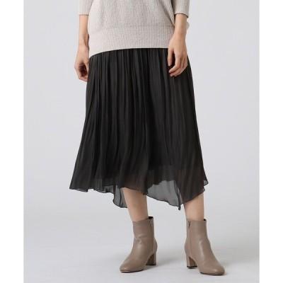 スカート 【洗える】ルーチェシャイニークロスギャザースカート