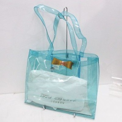 【中古】テッドベーカー TED BAKER ビニールトートバッグ セミショルダー リボン ロゴプリント ラメ クリアブルー
