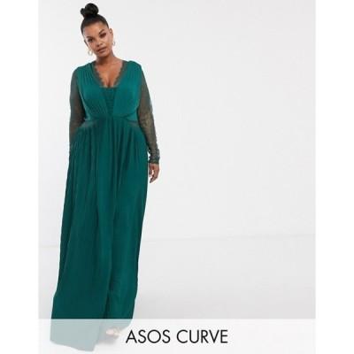 エイソス レディース ワンピース トップス ASOS DESIGN Curve lace and pleat long sleeve maxi dress
