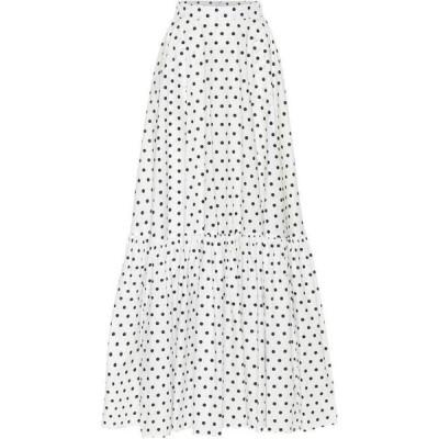 プラン C Plan C レディース ロング・マキシ丈スカート スカート Polka-Dot Cotton Maxi Skirt Black Polka Dot White Base