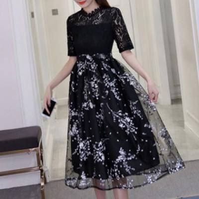 ドレス ワンピース パーティードレス 結婚式 ワンピース 黒ドレス 10代 20代 30代40代 フォーマル お呼ばれ ミモレ丈 カラードレス キレ
