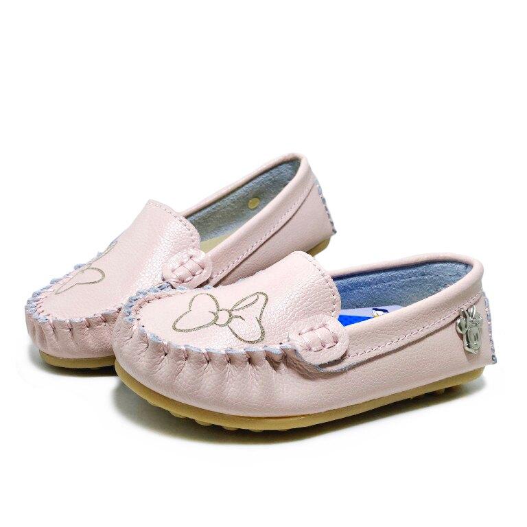 迪士尼DISNEY 親子款米妮日韓質感真皮豆豆鞋 懶人鞋 [121150] 粉 MIT台灣製造 4色【巷子屋】