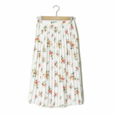 Ray BEAMS レイビームス フラワープリント プリーツスカート 63-27-0110-509 0 ホワイト ウエストギャザー 花柄 ポリエステル