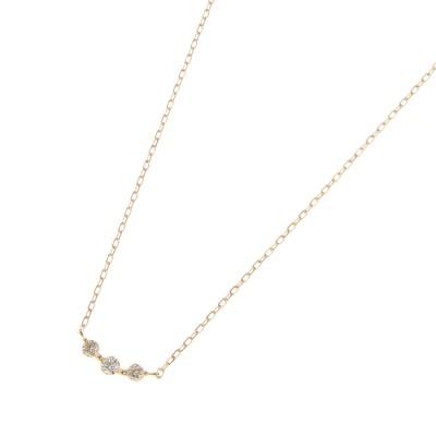 ココシュニック COCOSHNIK K18ダイヤモンド グラデーション3石 ネックレス (イエローゴールド)