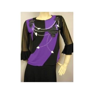 社交ダンス コーラス衣装 ダンスストップス レディース ダンスウェア 衣装  黒紫