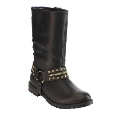 ブーツ シューズ 靴 海外厳選ブランド Olivia Miller レディース プルオン Rhineストーン ミドル丈 Harness ブーツ Oミリ-9747 ブラック BLACK