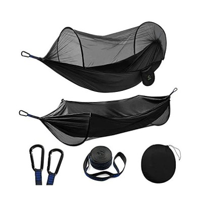 Double Camping Hammock with Mosquito/Bug Net, Portable Parachute Nylon 2 in 1 Pop Up Hammock with 10ft Hammock Tree Straps and Easy Assembly