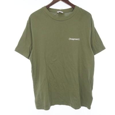 モンクレール/MONCLER fragment NEWS プリント Tシャツ 13H20 サイズ メンズM カーキ ランクA 102  (中古)