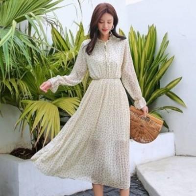 ワンピース 大きいサイズ ゆったり リボン柄シフォンワンピース 春ワンピース 新作ワンピース トレンド 韓国デザイン 韓国ファッション
