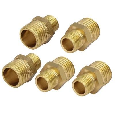 uxcell 六角コネクタ 継手 水ガスパイプ 1/4BSP—1/8BSP オスネジ 5個入り