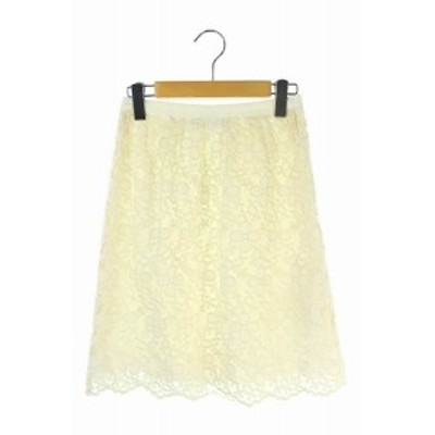 【中古】エムズグレイシー M'S GRACY カットワークレーススカート 膝丈 台形 花柄 刺繍 36 アイボリー 白 /RM ■OS■