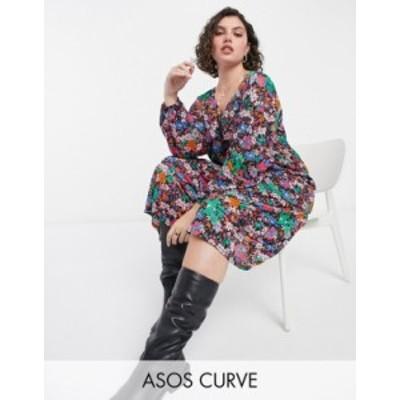 エイソス レディース ワンピース トップス ASOS DESIGN Curve midi long sleeve tier hem dress in bright floral Bright floral