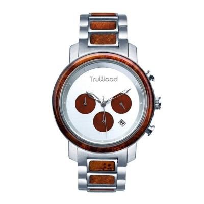 即納 トゥルーウッド truwood ウッドウォッチ 木製腕時計 男性用 腕時計 メンズ ウォッチ クロノグラフ シルバー 5060412403009 sokunou