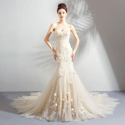 ウエディングドレス ベアトップ マーメイドドレス レディース トレーンタイプ ブライダル 上品な 花嫁ドレス オシャレ 演奏会 素敵な 写真撮影 ドレス