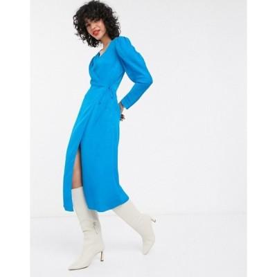 アンドアザーストーリーズ レディース ワンピース トップス & Other Stories puff sleeve jacquard midi wrap dress in blue