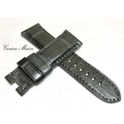 CousuMain 24mm-22mm   クロコダイル 両面 Dバックル用 手縫い クロコ時計ベルト(PANERAI パネライ 44mmケース)向 R411