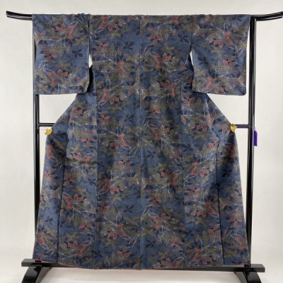 紬 優品 枝葉 藍色 袷 身丈160cm 裄丈66cm M 正絹 中古