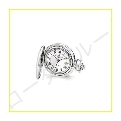 "Sonia Jewels Charles Hubert Chrome-Finish Flower Floral Design Pocket Watch 14.5"" 並行輸入品"