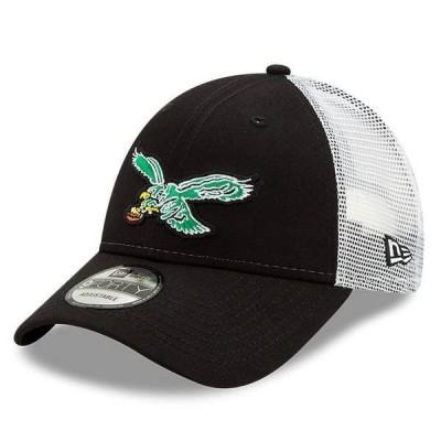 ニューエラ メンズ 帽子 アクセサリー Philadelphia Eagles New Era Throwback Logo Team Trucker 9FORTY Adjustable Snapback Hat
