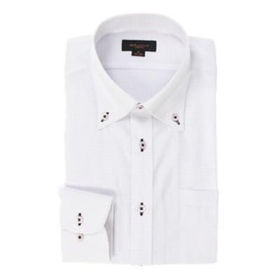 形態安定スリムフィット ボタンダウンパイピング長袖ビジネスドレスシャツ
