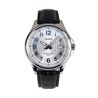 腕時計 カシオ メンズ MTP-E126L-7A Casio MTP-E126L-7A Men's Black Leather Dress Watch Date Silver Dial