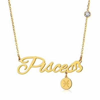 QJLE 12 Constellation Zodiac Pendant Necklace for Women,18K Gold Plated Old English Letter Astrology Horoscope Necklace Girls Je
