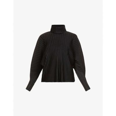 プリーツ プリーズ イッセイ ミヤケ PLEATS PLEASE ISSEY MIYAKE レディース トップス pleated cut-out high-neck woven top BLACK