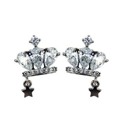 Petit Lulu ピアス レディース 最高級スワロフスキー 王冠 クラウン 星 スター ラッキー 揺れる星 一粒星 夜空 925銀 k1