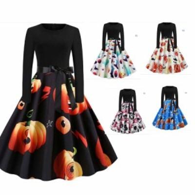 ハロウィン衣装ドレスレディースドレス 長袖ワンピース/裾日常服/パーティードレスChristmas ダンス衣装膝丈