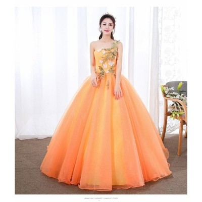 カラードレス 大特価 ウェディングドレス パーティドレス ロングドレス ワンピ ブルー 結婚式 発表会 オレンジ オーダーサイズ可