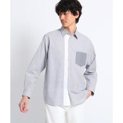 シャツ ブラウス 【Sサイズ〜】ストライプブロッキングシャツ