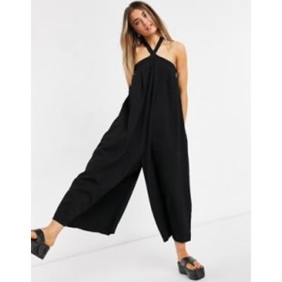エイソス レディース ワンピース トップス ASOS DESIGN cross neck textured swing bib jumpsuit in black Black