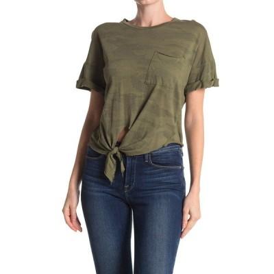 エヌエスエフ クロージング  レディース Tシャツ トップス Arlene Front Tie Camo Pocket Tee OLIVE CAMO