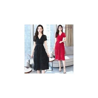 2019夏新作レディースカシュクールティアードワンピースドレス半袖きらきらパーティドレス結婚式二次会夏ワンピ