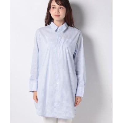 【ベネトン(ユナイテッド カラーズ オブ ベネトン)】 コットンストライプオーバーサイズシャツ・ブラウス レディース ブルー×ホワイト M(国内L相当) BENETTON (UNITED COLORS OF BENETTON)