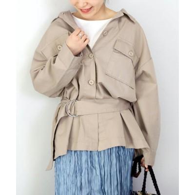 【ファニーカンパニー】 チノツイルベルト付ワークジャケット レディース ベージュ F FUNNY COMPANY+