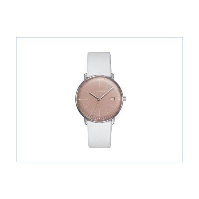 Junghans Watch Max Bill Ladies Quartz Light Rose Dial Date White Leather Strap 047/4658並行輸入品