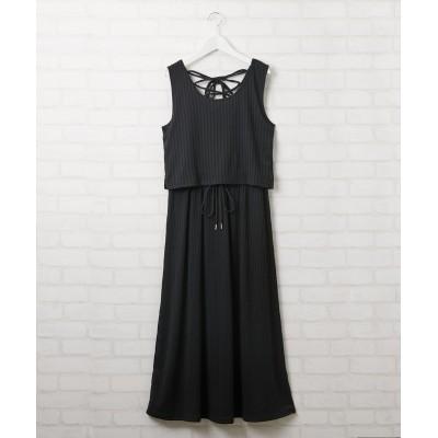後ろレースアップタンクワンピース (ワンピース)Dress