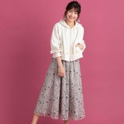 ローズティアラ(Rose Tiara)/チュールスター刺繍フレアスカート