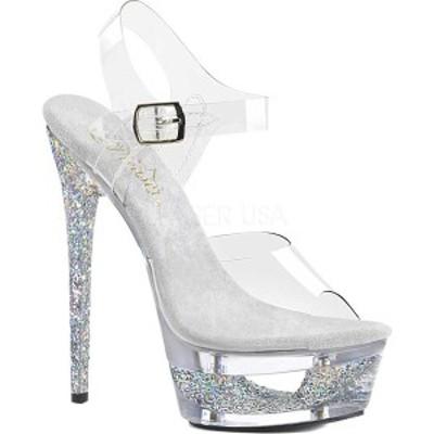プリーザー レディース サンダル シューズ Eclipse 608GT Ankle Strap Sandal Clear/Silver Multi Glitter/Clear Synthetic