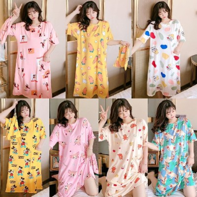 夏のロングスカートの女性の日本語と韓国語版の半袖の肥満200キロは、緩いホームサービスの複数のスタイルにすることができます