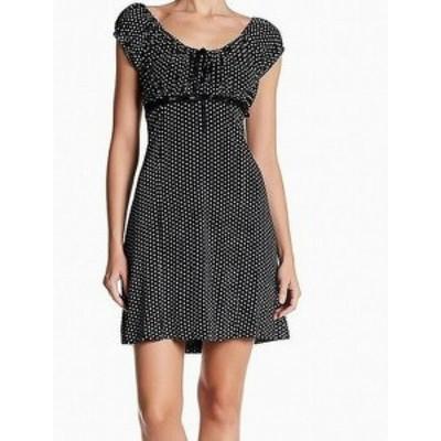 Papillon  ファッション ドレス Papillon NEW Black Womens Size Large L Polka Dot A-Line Sheath Dress