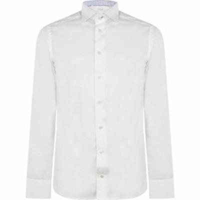 イートン ETON メンズ シャツ トップス slim paisley trim shirt White