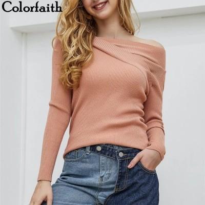 海外輸入アパレル Colorfaith Women Pullovers Sweater2019ニット秋冬ファッションボトムスエレガントセクシースラッシ