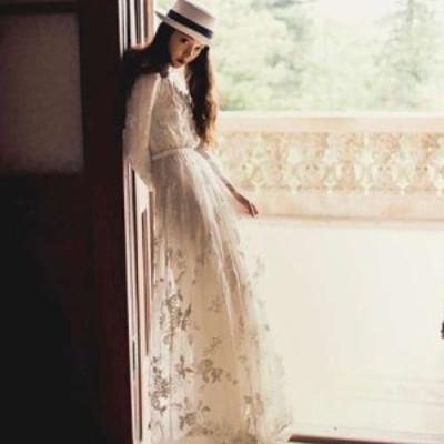ロングドレス 袖あり ワンピースドレス 春夏 デート 大きいサイズ 20代 マキシ丈 長袖 袖あり Vネック レース 花柄 刺繍 白