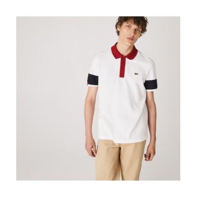 【ラコステ】 Made in France ツー・トーンオーガニックコットンポロシャツ メンズ ホワイト 2(日本サイズS) LACOSTE